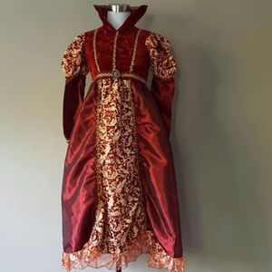 Girl's Medieval Costume Size 10 -12 Red Gold